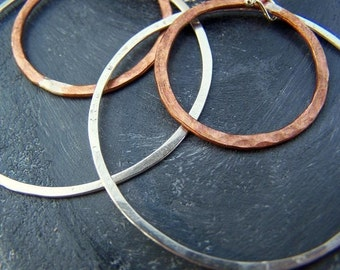 Silver and copper hoop earrings