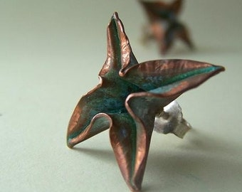 Foldformed Stud Earrings with verdigris patina