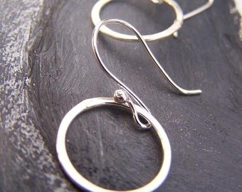Organic Link Hoops - sterling silver hoop earrings