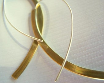 Long Brass Minimalist Earrings (3 inches long)