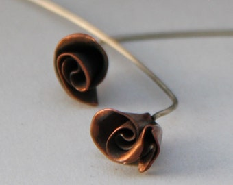 Mini Rose Copper Earrings with Long Stems