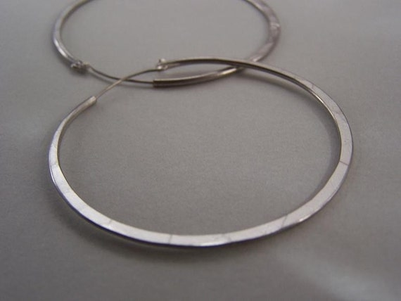 Sterling Silver Hoops - 2 inch continuous hoop earrings