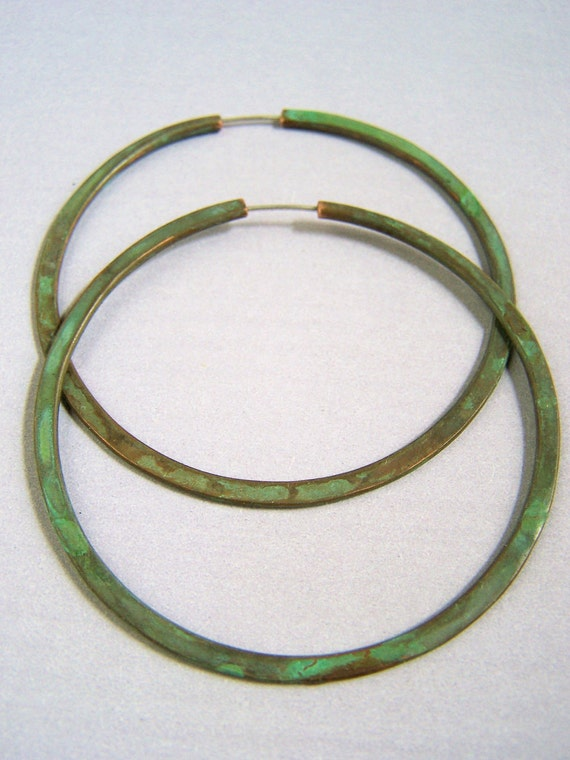 Verdigris Hoop Earrings - 2 1/2 inch hoops