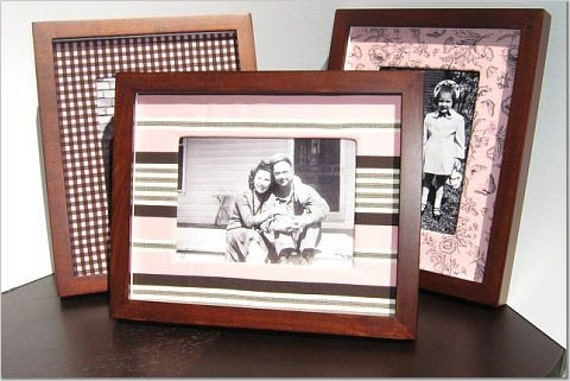 Set of 3 Decorative Photo Mats for 5x7 Photos in Pink and Brown
