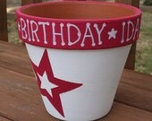 "RESERVE LISTING for MOMMY2IDA - 6"" Custom Painted Pot"