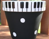 Piano Keys 6-Inch Hand-Painted Flower Pot FREE SHIPPING