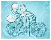 Squidcycle- Hand printed screenprinted art print