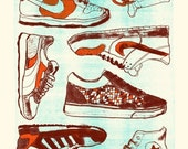 Sneakers- Hand printed art print