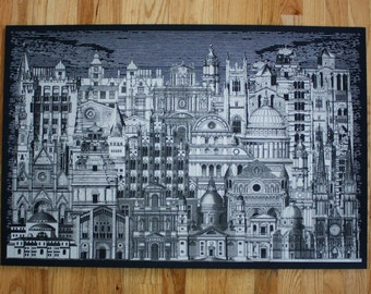 Silver City 3 Night- 24 x36 Hand Printed Art Print