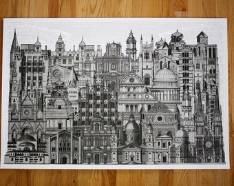 Silver City 3 - 24 x 36 Hand Printed Art Print