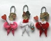 Victorian Chenille Valentine Ornaments - Valentine Decorations - Handmade