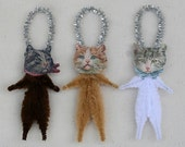 Christmas Ornaments - Shabby Chic Cat Ornaments - Hostess Gift Under 25