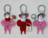 Chenille Valentine Ornaments - Valentine Decorations - Victorian Inspired