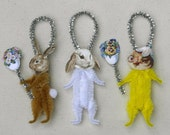 Easter Decorations - Chenille Spring Ornaments - Chick and Bunny Rabbits