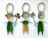 St. Patrick's Day Cat Ornaments - Handmade Chenille Ornaments