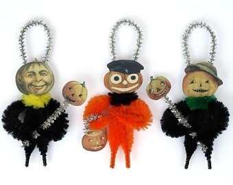 Halloween Primitive Ornaments - Chenille Halloween Decor Ornaments
