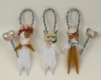 Romantic Chenille Cat Ornaments - Shabby Chic Christmas Decorations