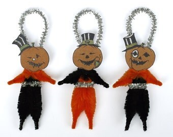 Halloween Folk Art Chenille Ornaments - Handmade Halloween Ornaments