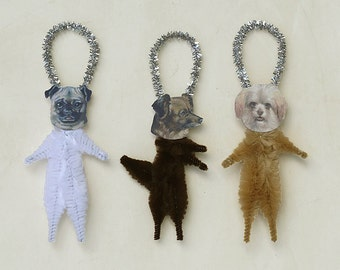 Chenille Dog Ornaments - Handmade Chenille Ornaments