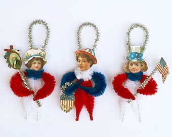 Fourth of July Decorations - Patriotic Chenille Ornaments - Americana Home Decor