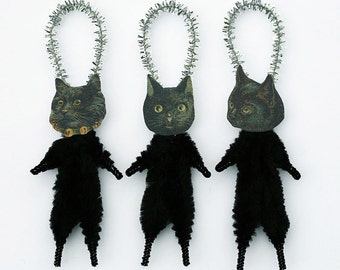 Black Cat Halloween Decorations - Handmade Primitive Cat Ornaments