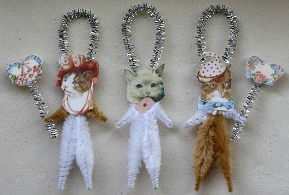 Romantic Chenille Cat Ornaments - Set of 3