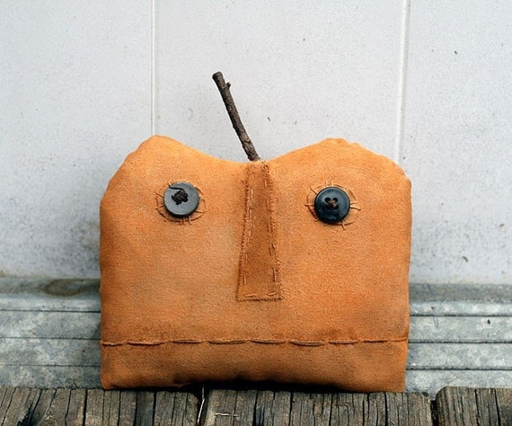 Extreme Primitive Halloween Pumpkin Doll - Autumn Harvest Folk Art - Made to Order