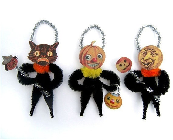 Halloween Chenille Ornaments - Primitive Halloween Decor