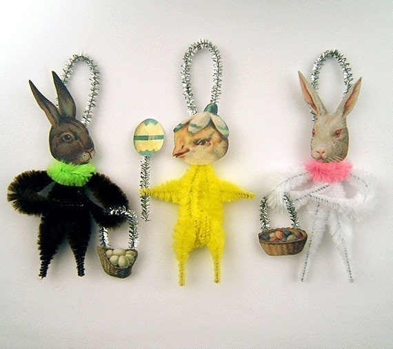 Chenille Easter Ornaments - Easter Decorations - Easter Bunny and Chick Ornaments