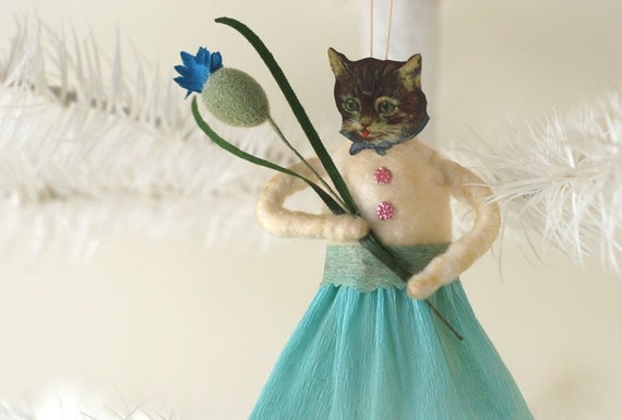 Spun Cotton Kitty Cat Ornament - Handmade Spun Cotton Ornament - Made to Order