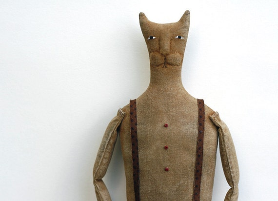 Paw Ingalls - Primitive Cat Doll - Rustic Farmhouse Decor - Made to Order