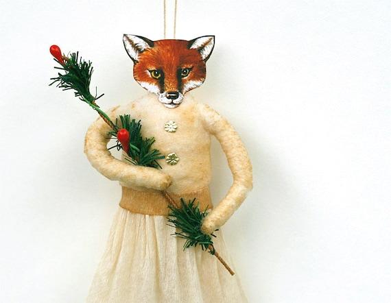Fox Spun Cotton Ornament - Holiday Ornament - Christmas Home Decor - Hostess Gift - Made to Order
