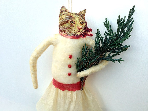 Cat Ornament - Spun Cotton Christmas Ornament - Stocking Stuffer - Hostess Gift - Made to Order