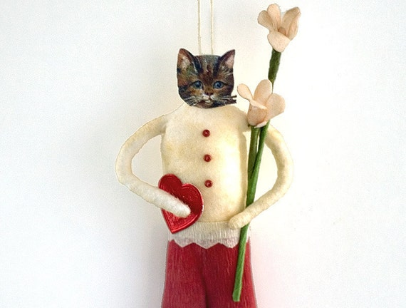 Valentine Decoration - Valentine Cat Spun Cotton Ornament - Made to Order