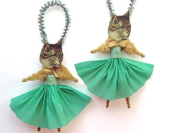 Set of 2 Cat Ornaments - Chenille Ornaments - Spring Home Decor