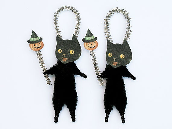 Black Cat Halloween Ornaments - Primitive Halloween Cat Ornaments
