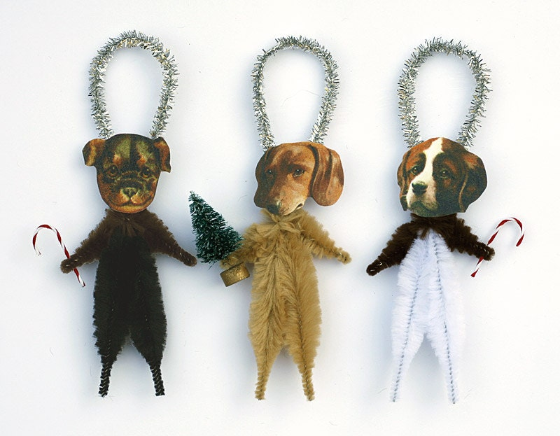 Christmas Dogs Chenille Ornaments Dog by oldworldprimitives