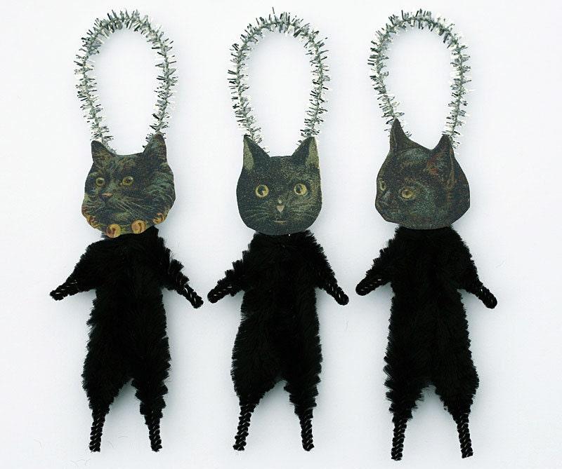 Christmas Tree Made Of Black Cats: Black Cat Halloween Decorations Handmade Primitive Cat