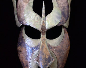 Hammered Copper and Brass Decorative Mask