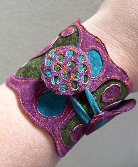 Leather and Suede Button Up Cuff
