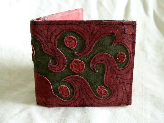 Billfold Wallet in Recycled Suede and Leather
