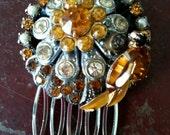 OOAK Bridal Hair Comb-Bridal Hair Accessories, Vintage Topaz, Mustard, Rhinestone, and Pearl Collage