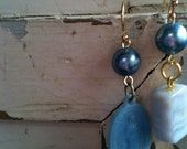 OOAK Vintage Gold Mary Rosary Stone Powder Blue Asymmetrical Earrings