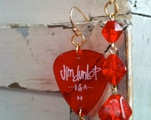 OOAK Vintage Asymmetrical Red Glass Geometrical Beads And Guitar Pick Earrings