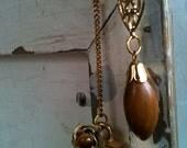 OOAK Vintage Asymmetrical Brown Wood Football Gold Filigree Metal Drop Dangle Long Earring