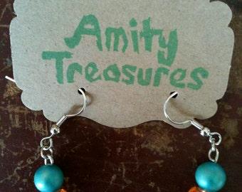 Thunder Blue Vintage Pearl Bead Glass Orange Opaque Bead White Milk Glass Silver Dangle Dainty OKC Oklahoma Earrings