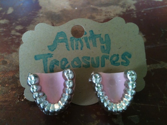 Vintage Kitsch Pink Plastic Dentures Silver Grill Teeth Dentist Gums Plastic Pink and Silver Post Earrings on Silver Post