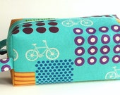 Bigger Boxy Bag Knitting Project Zippered Pouch - Bicycles on turquoise
