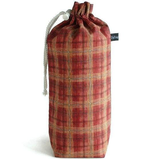 Spindle Bag, Padded Drawstring Bag - Plaid