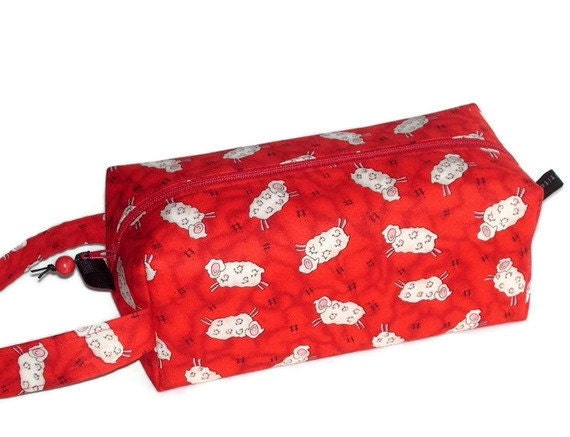 Boxy Bag Knitting Project Zippered Pouch - Sheep on red